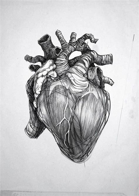 human heart tattoo design black and grey human design