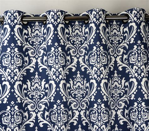white damask curtains navy blue white ozborne damask curtains grommet 84 96 108