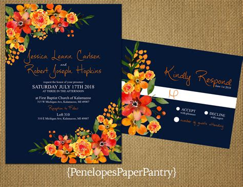 Unique Orange Wedding Invitations by Navy Fall Wedding Invitationorange And Yellow
