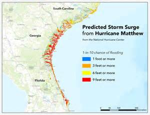 florida surge map where will hurricane matthew cause the worst flooding