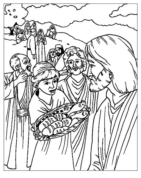 bible coloring pages fish feeding 5000 coloring sheet feeding the 5000 miracle of
