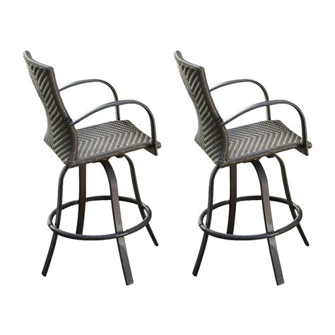 Patio Bar Chair Shop Outdoor Greatroom Company Naples 2 Count Brown Wicker Patio Barstool Chairs At Lowes