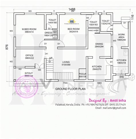 kerala home plan elevation and floor plan 2254 sq ft gorgeous floor plan and elevation of modern house kerala