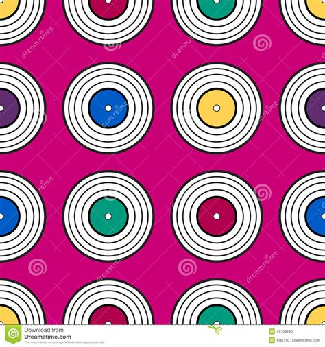 Vinyl Pattern Background | colorful vinyl record pattern background stock vector