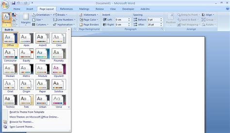 theme definition in microsoft word microsoft word 2007 themes