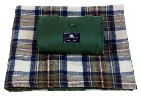 tartan picnic rug waterproof muted blue stewart tartan waterproof picnic rug