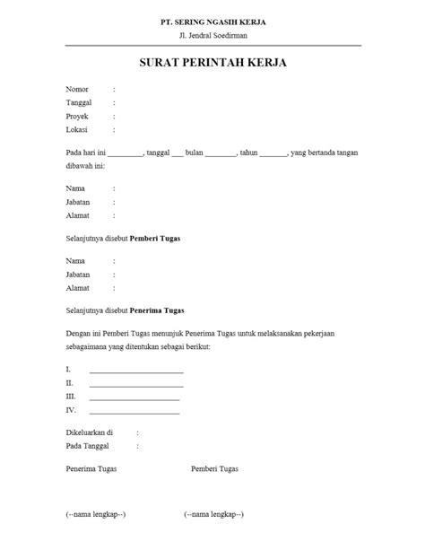 Contoh Surat Perintah by Contoh Surat Perintah Kerja Yang Benar Dan Formal Contoh
