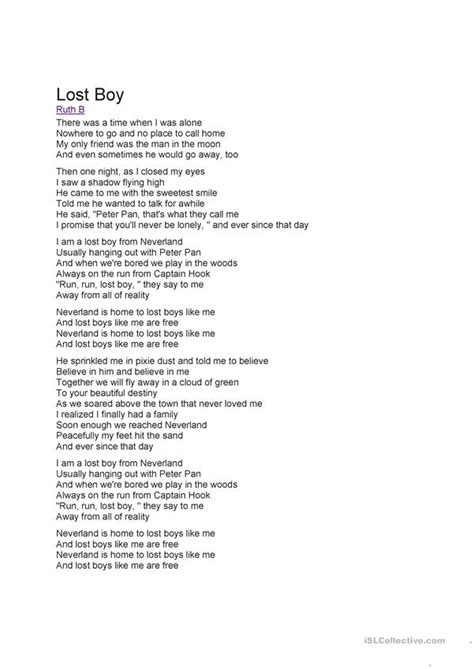 Song: Lost Boy by Ruth B - English ESL Worksheets for