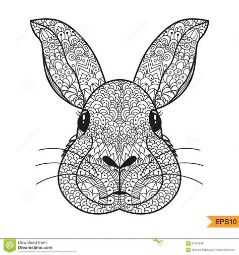 zentangle rabbit head for for antistress coloring