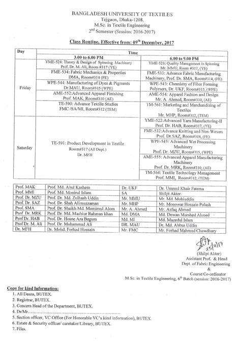 Butex Mba Admission Circular 2016 17 by Class Schedule M Sc In Textile Engineering Session 2016
