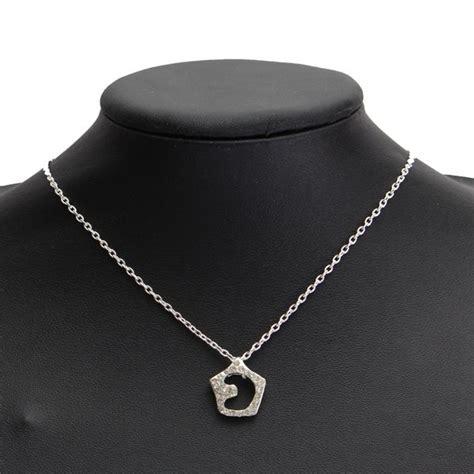Rhinestone Moon Pendant Necklace silver rhinestone hollow moon pendant necklace