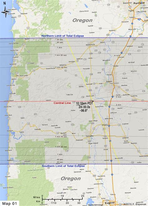 map of oregon total eclipse road atlas for the total solar eclipse of 2017