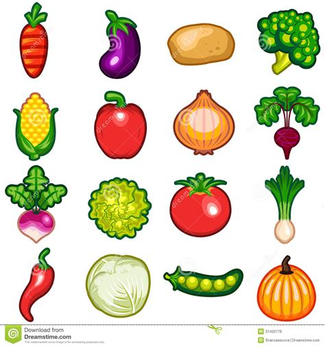 Vegetables Icon Set stock vector. Image of culinary