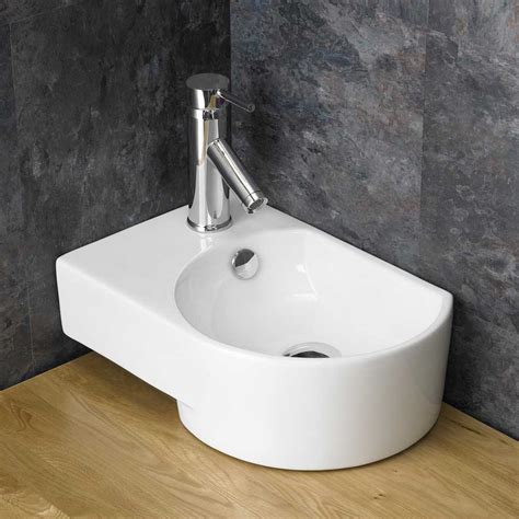 cloakroom basin small ceramic 41cm x 27cm space saving sink countertop en suite ebay