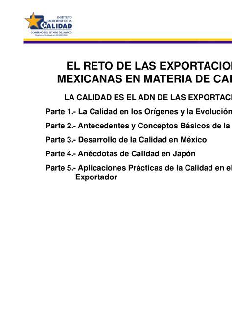 el reto de la 8478985387 cjc2009 el reto de las exportaciones mexicanas en materia de calidad