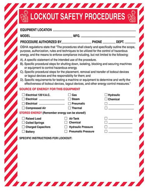 Lockout Safety Procedure Forms Lock Out Tag Out Form Template