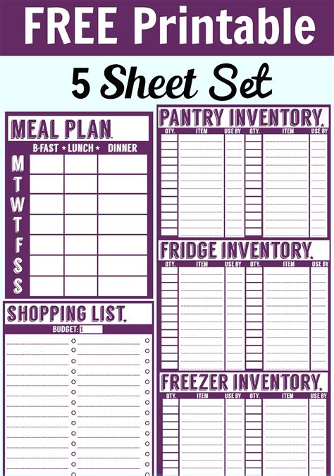 free printable planner checklist free 5 sheet printable set includes a menu planner
