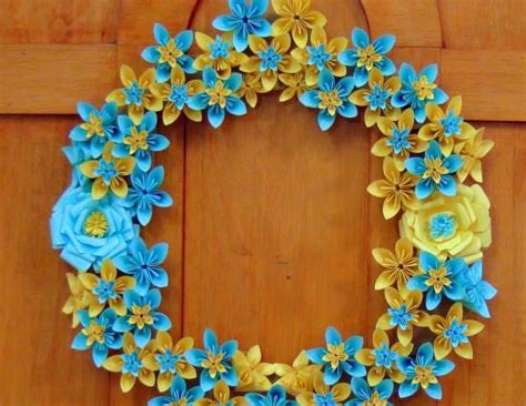 Origami Paper Crafts Ideas - origami paper flowers wreath simple craft ideas