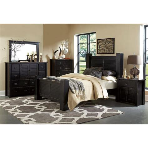 bedroom furniture set trestlewood black 6 cal king bedroom set