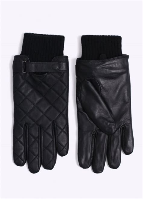 Mens Quilted Leather Gloves by Barbour Quilted Leather Gloves Black Triads Mens From