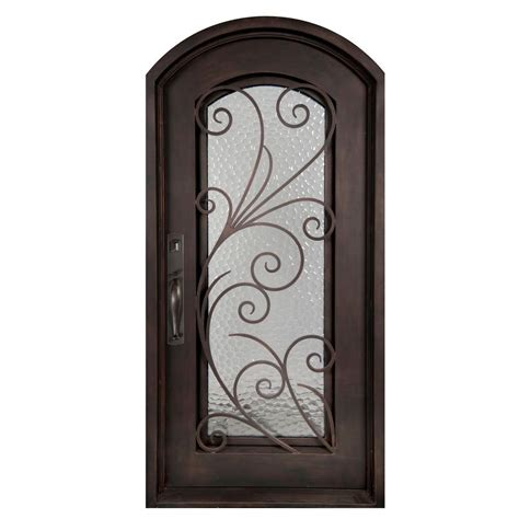 wrought iron doors iron doors unlimited 46 in x 97 5 in flusso classic lite painted rubbed bronze