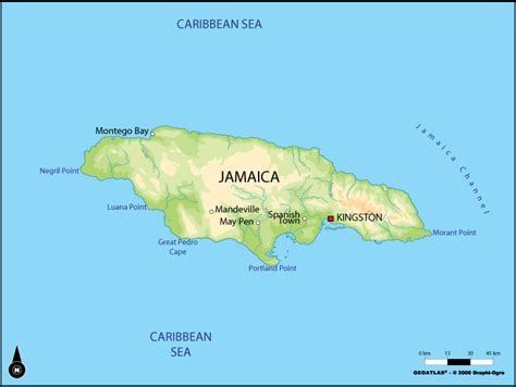physical map of jamaica large physical map of jamaica