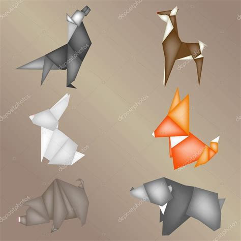 Origami Forest Animals - 종이 접기 숲 동물 스톡 벡터 169 sss07 106444364