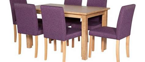argos wyoming oak stain dining table and 6 purple chairs