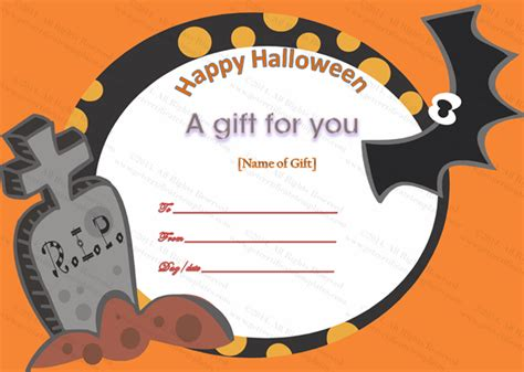 happy halloween gift certificate template