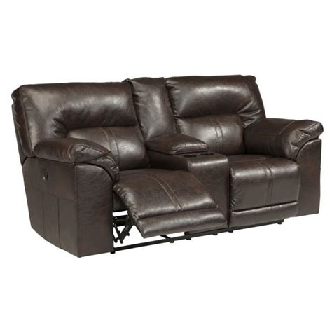 ashley reclining loveseat with console ashley barrettsville leather power reclining console