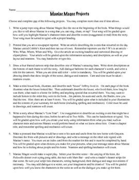 Maniac Magee Worksheets by Maniac Magee End Of Book Activities