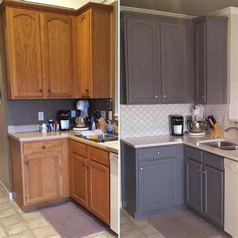 Refinishing Kitchen Cabinets With Stain Stained Oak Cabinets Before And After Deductour