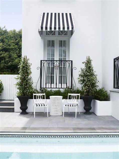 black and white striped awning black and white greek key pool tile black and white