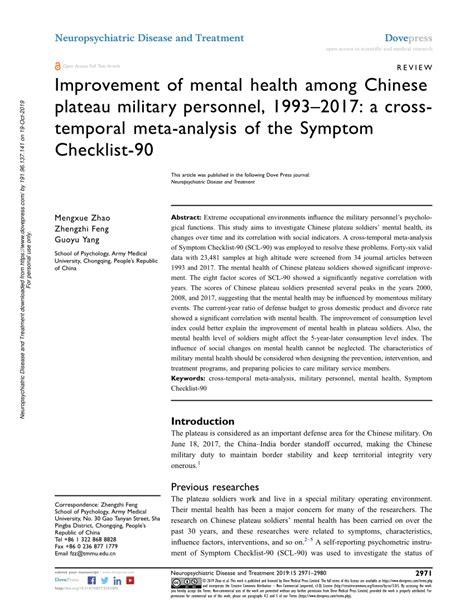 (PDF) Improvement of mental health among Chinese plateau