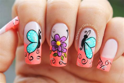 imagenes de uñas naturales decoradas paso a paso decoraci 243 n de u 241 as mariposas y flores facil deko u 209 as