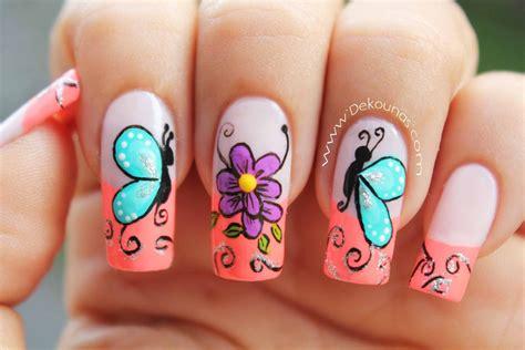 imagenes de uñas pintadas faciles y bonitas 2014 decoraci 243 n de u 241 as mariposas y flores facil deko u 209 as