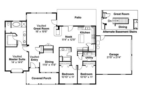 ranch floor plans with large kitchen ranch house plans alpine 30 043 associated designs