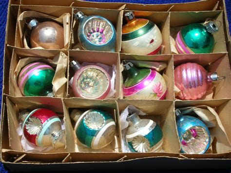 vintage christmas ornaments mercury glass hand blown indents