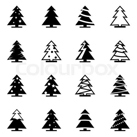 christmas tree text symbol vector black tree icon set on white background stock vector colourbox