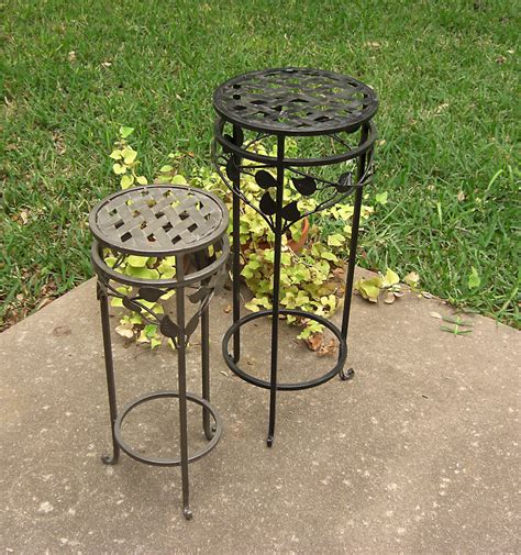 Wrought Iron Planter Stands by 2 Wrought Iron Metal Plant Stands Lattice And By