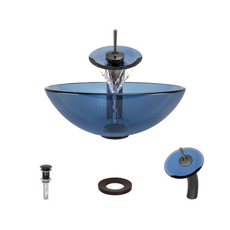 Aqua Sink mr direct glass vessel sink in aqua with waterfall faucet and pop up drain in rubbed bronze