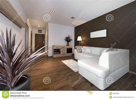 modern brown interior design living room stock image
