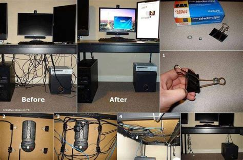 Office Desk Cable Management Hide Your Cords On A Glass Office Desk Using Binder Storage And Organization Ideas