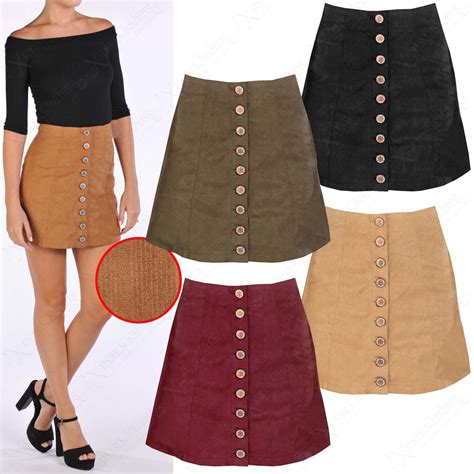 new womens rib cord a line mini skirt button front faux suede look ebay