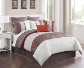 8 piece queen aruba orange taupe comforter set