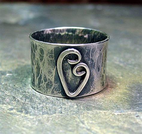ring wide band rustic sterling silver hammered