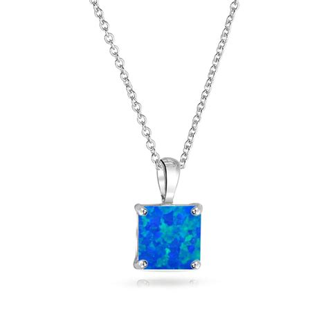 blue opal necklace bling jewelry square blue opal pendant gemstone necklace