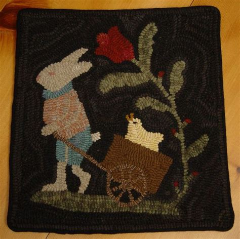 Rabbit Rug by Primitive Rabbit And In Wagon Easter Bunny