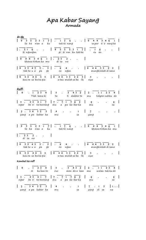 download mp3 lagu armada apa kabar kamu sayang kumpulan not angka not angka armada apa kabar sayang