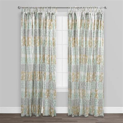 crinkle curtains boho patch crinkle cotton voile curtains set of 2 world